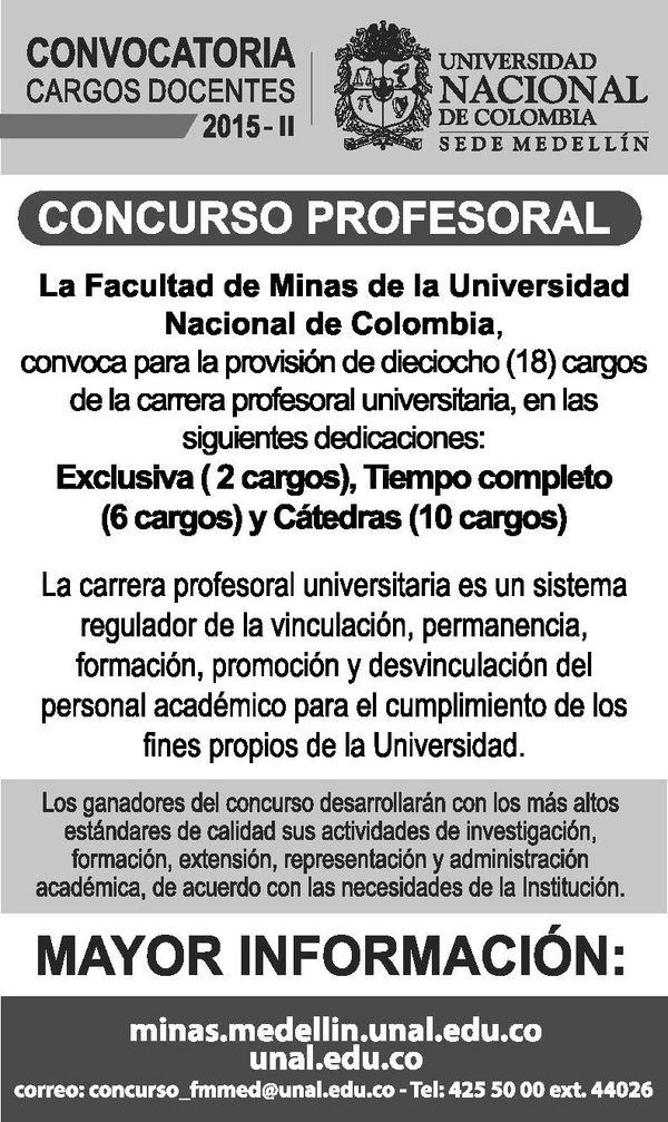 convocatoria docente universidad nacional de colombia